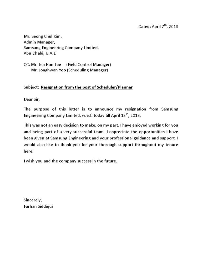 Resignation Letterdocx – Resignation Letter Engineer
