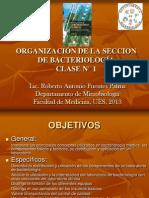 ORGANIZACIÓN DE LA SECCION DE BACTERIOLOGÍA 2013