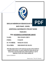 [JOHOR 2013] Additional Mathematics Project Work - HOUSEHOLD EXPENDITURE SURVEY