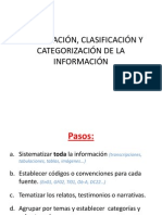 ORGANIZACIÓN, CLASIFICACIÓN Y CATEGORIZACIÓN DE LA INFORMACIÓN