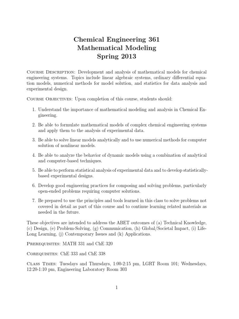 syllabus | Engineering | Mathematical Model