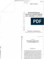 Larraín (2000) Modernidad, Razón e Identidad en América Latina. cap 4 y 5