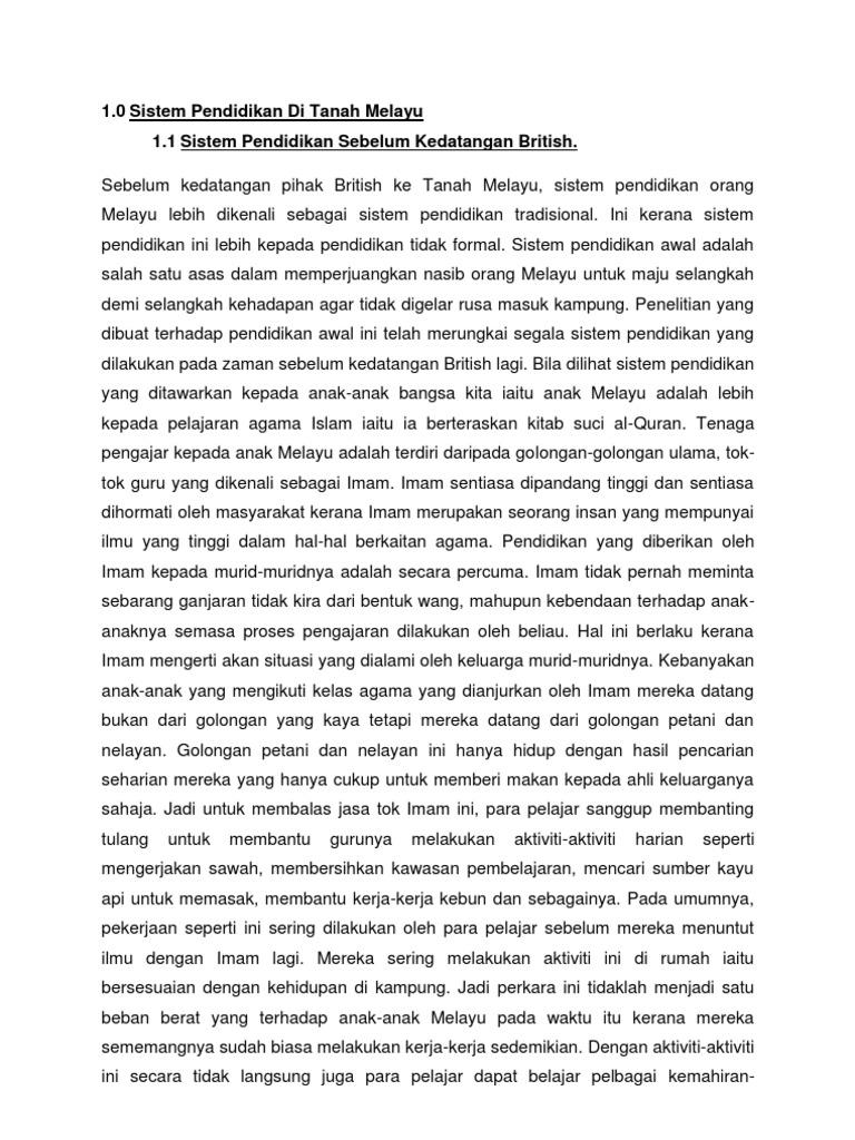 Sistem Pendidikan Di Tanah Melayu