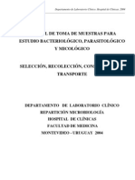 Manual de Toma de Muestras Para Estudio Bacteriologico Parasitologico y Micologico