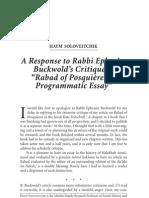 Haym Soloveitchik - A Response to Rabbi Ephraim Buckwold's Critique of 'Rabad of Posquieres a Programmatic Essay'