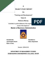 Training-Development-Project in Reliance Money