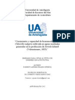 Crecimiento y capacidad de biorremediación de Chlorella vulgaris cultivada en aguas residuales generadas en la producción de Seriola lalandi (Valenciennes, 1833)