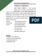 Internship of Mehmood Textile Mills