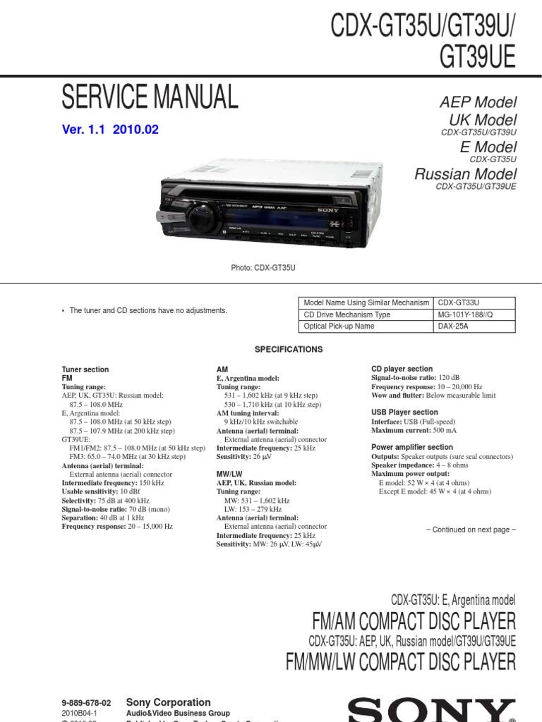 Amazing Sony Cdx Gt35u Wiring Diagram Ornament - Wiring Schematics ...