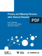 Privacy and Missing Persons after Natural Disasters