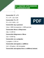 FÓRMULAS Y DATOS UTILIZADOS EN EMERGENCIAS