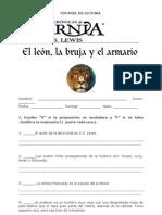 Evaluación León, la bruja y el ropero.
