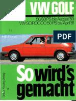 Libro de Taller Golf Mk1 50-60PS Bis 83 y Scirocco Mk1 50PS Bis 81