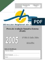 Prova Mat9 2005