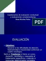 Cuestionarios de Evaluacion Conductual y Evaluaciones Complementaria