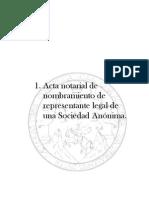 Acta notarial de nombramiento de representante legal de una Sociedad Anónima