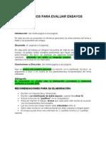 Recomendaciones y Criterios Evaluar Ensayos 2011