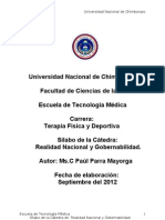 Silabo Realidad Nacional Terapia Física. MS. Paul Parra M. - 2012