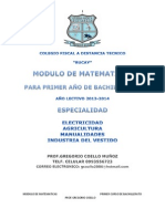 Colegio Fiscal a Distancia Tecnico Modulo de Matematicas 1 Curso