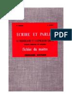 Langue Française Ecrire et Parler CM1 CM 106 Fichiers et correction maitre