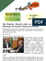 Em Brasília, Ricardo pede ao ministro da Educação 12 escolas técnicas na Paraíba