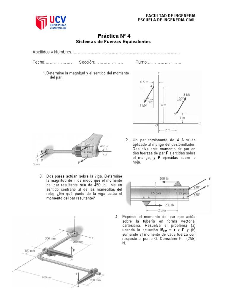 Practica Calificada 4-Estatica   Fuerza   Vector euclidiano