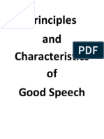 Principles of and Characteristics of Good Speech