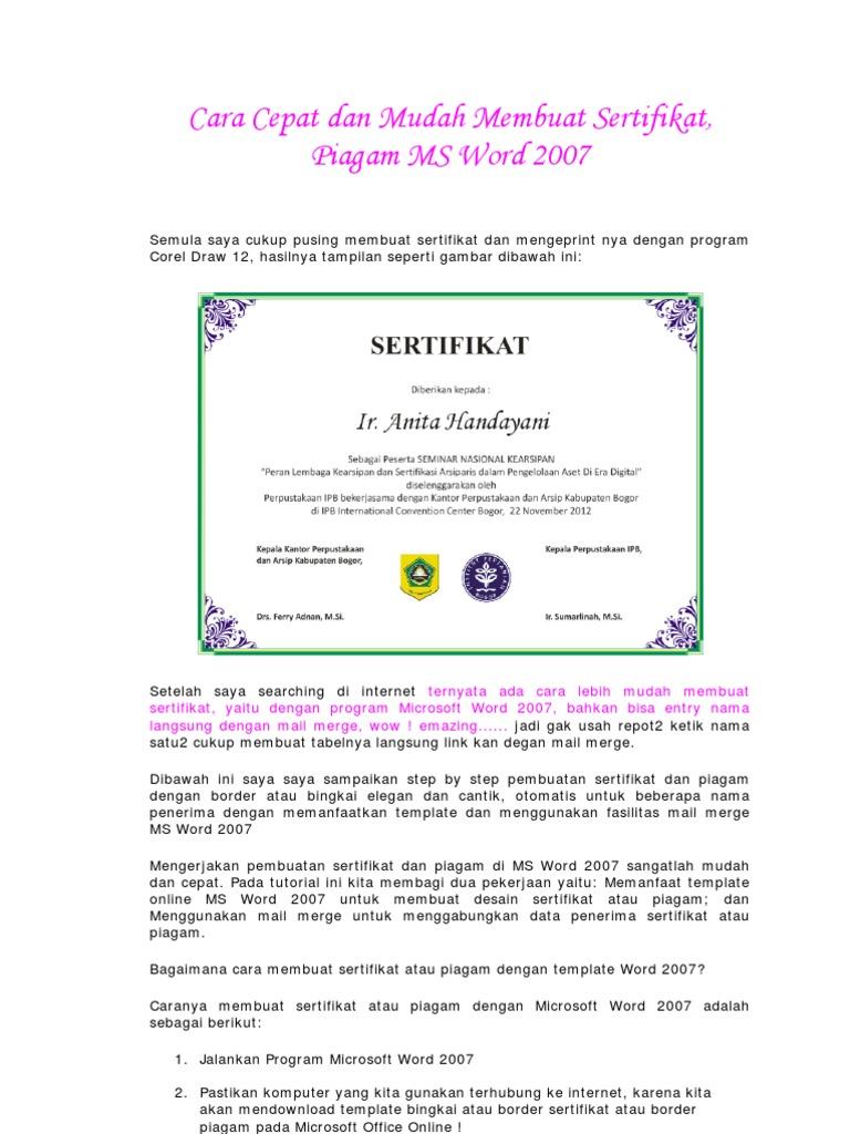 cara cepat dan mudah membuat sertifikat atau piagam dengan microsoft word 2007 oleh anita handayani membuat sertifikat atau piagam