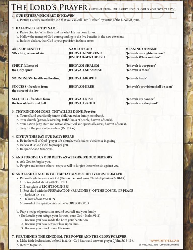 Lords Prayer Outline | Armor Of God | Prayer