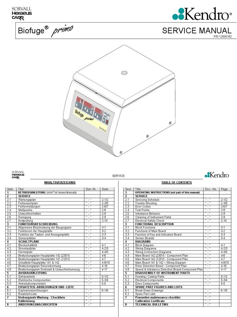 Biofuge Primo 120V 230V Dual | Electrical Engineering | Electricity