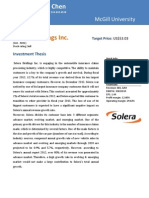 Stock Report of Solera Holdings Inc (Read With Its Financial Model)