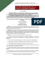 Reglamento Del Servicio de Agua y Drenaje Para El Distrito Ederal