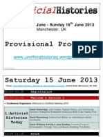 Unofficial Histories 2013 Provisional Programme