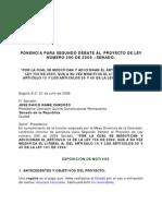 Ponencia Segundo Debate Proyecto No 290 de 2008