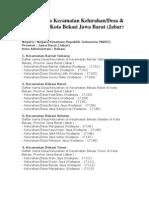 Daftar Kecamatan Di Bekasi