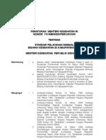 Permenkes No 741/2008 STANDAR PELAYANAN MINIMAL BIDANG KESEHATAN DI KABUPATEN/KOTA