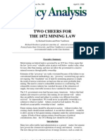 Two Cheers for the 1872 Mining Law, Cato Policy Analysis