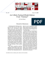 """Let's Make National Missile Defense Truly """"National"""", Cato Foreign Policy Briefing No. 58"""
