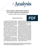 Fiscal Analysis of a $500 Federal Education Tax Credit to Help Millions, Save Billions, Cato Policy Analysis No. 398