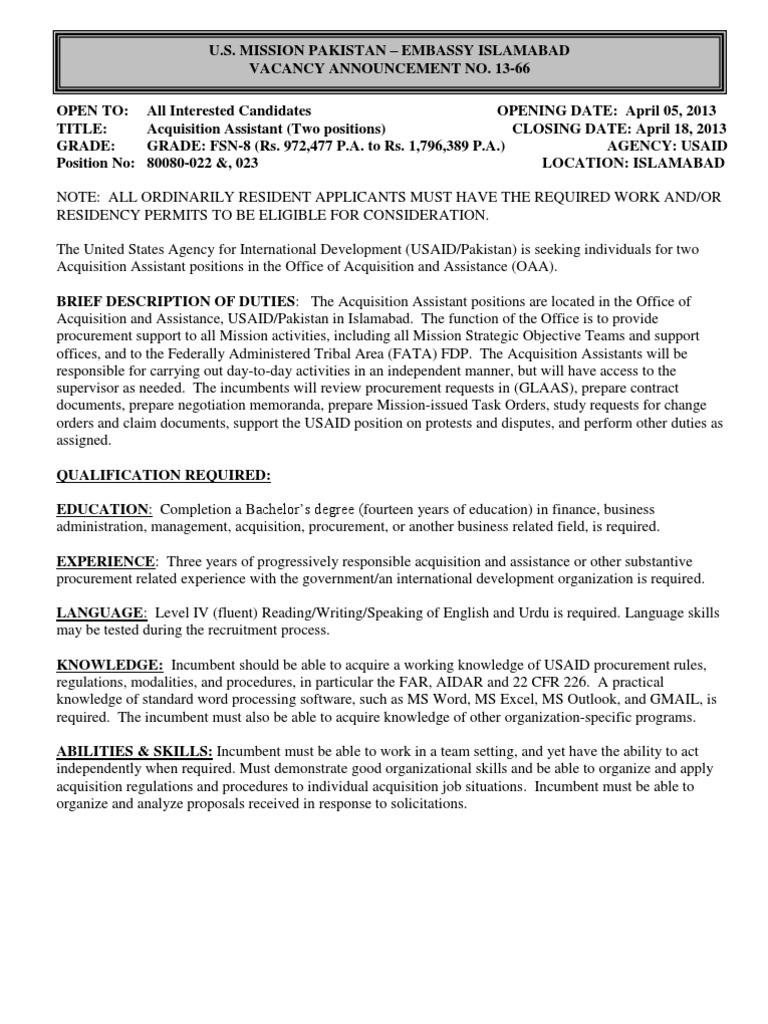 US Embassy Job Form DS-174   Badan Pembangunan Internasional