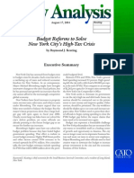 Budget Reforms to Solve New York City's High-Tax Crisis Cato Policy Analysis No. 522