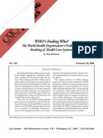 WHO's Fooling Who? The World Health Organization's Problematic Ranking of Health Care Systems, Cato Briefing Paper No. 101