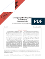 Greenspan's Monetary Policy in Retrospect, Cato Briefing Paper No. 109