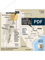 Location of West, Texas, plant explosion
