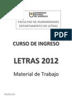 Cuadernillo Ingreso Letras 2012
