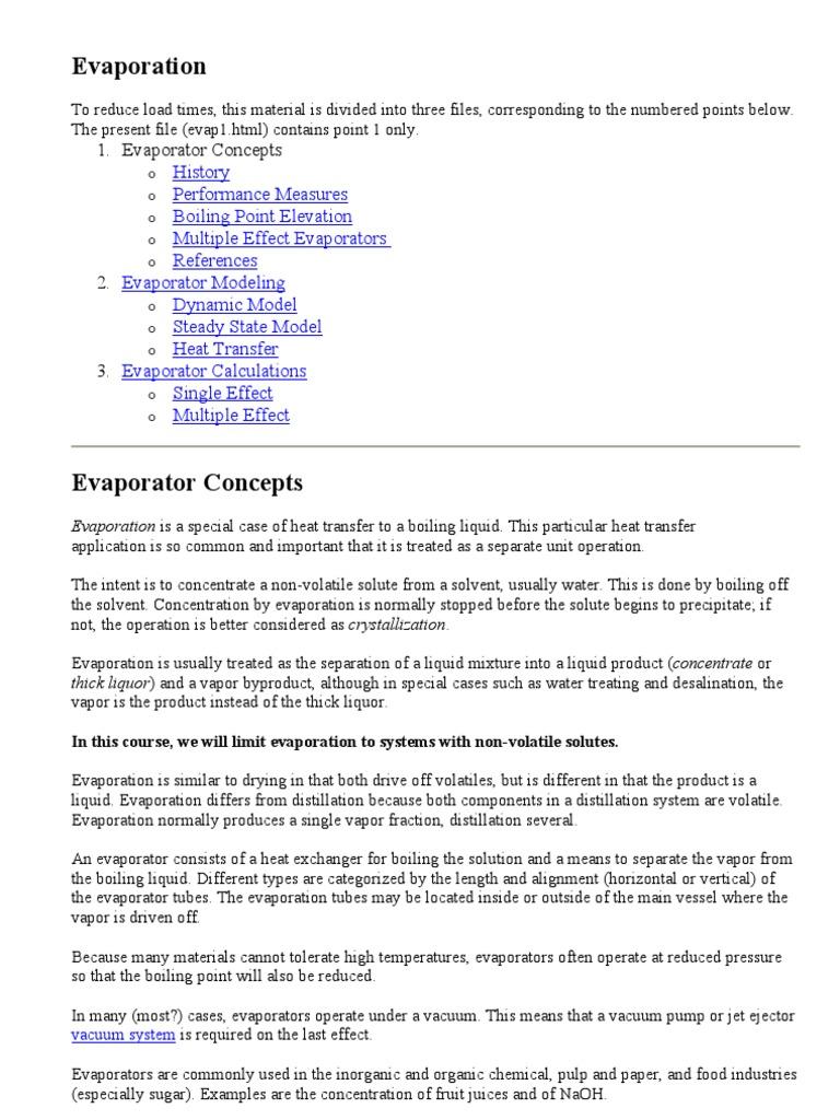 Evaporation | Heat Transfer | Distillation