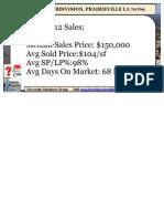 Prairieville LA Ascension Parish Parkview Subdivision Home Prices Study 70769 2011-2012