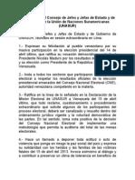 Declaración del Consejo de Jefes y Jefas de Estado y de Gobierno de la Unión de Naciones Suramericanas (UNASUR)