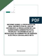 CNE VAR 20120328 Informe RD Regulacion Balance Neto