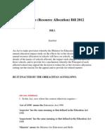 Education (Resource Allocation) Bill 2012